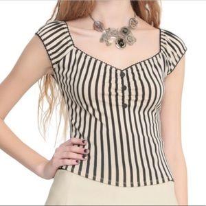 Black and Cream Vertical Striped Top